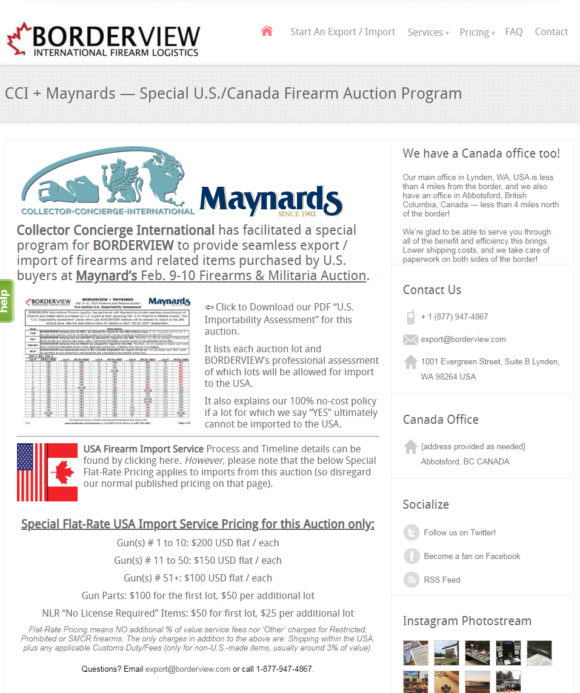 Borderview partners with Maynard's Feb  9-10, 2019 Firearms